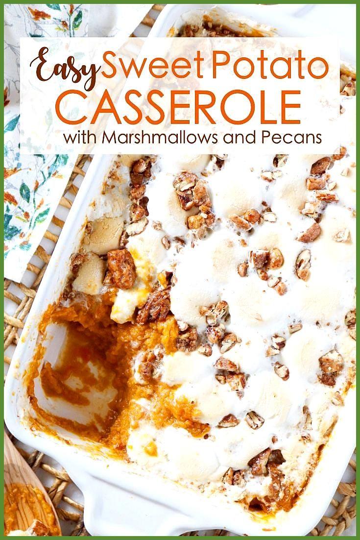 Sweet Potato Casserole With Marshmallows And Pecans Casserole Marshmallows Pecans Potato Sw Susskartoffelauflauf Gerostete Susskartoffeln Kartoffelauflauf
