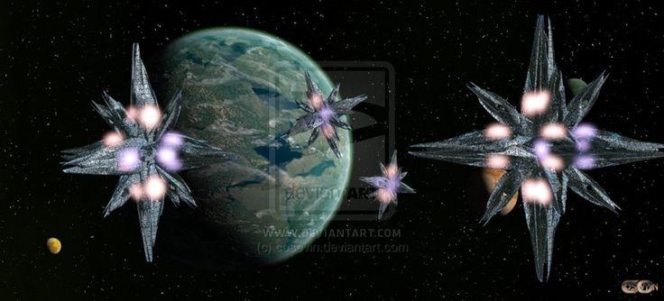 Space bases around the planet Artemis_4 by cosovin.deviantart.com on @DeviantArt