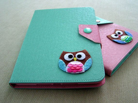 iPad mini Cover Smart Cover function , iPad mini stand, iPad mini Case in Mint colour , Cute Owl design on Etsy, $26.00