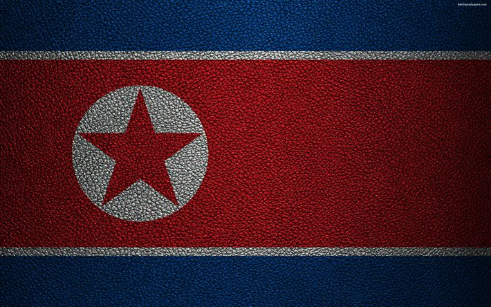Download wallpapers Flag of DPRK, 4K, leather texture, Democratic Peoples Republic of Korea, Asia, world flags, DPRK
