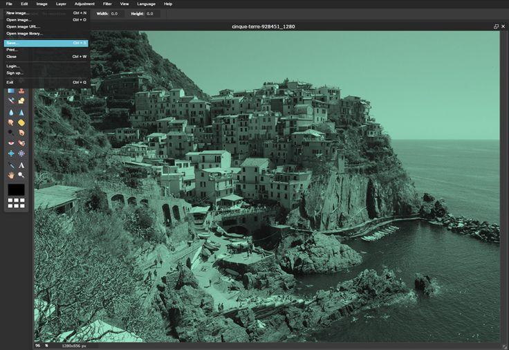 Fekete-fehér kép Pixlr Editor online képszerkesztőben