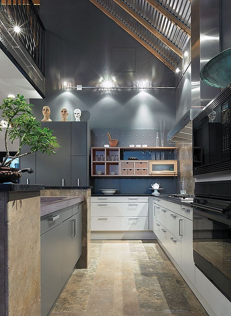 like: mix of black, white, grey and wood cabinets great lighting and floor