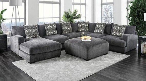 Cm6587 5 Pc Kaylee Gray Chenille Fabric Sectional Sofa Set With Chaise Sectional Sofas Living Room Grey Sectional Sofa Fabric Sectional Sofas