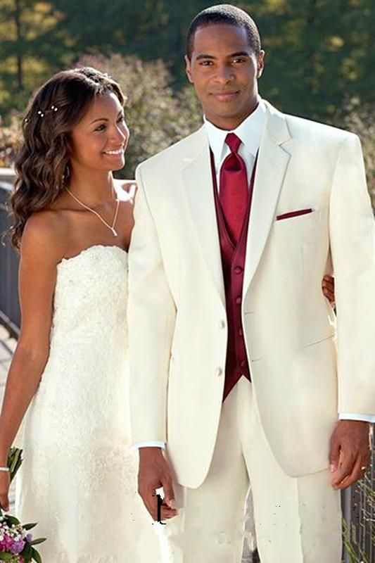 Perfect  New Ivory Groom Tuxedo notch Lapel Formal Wedding Dress Groomsman Suit for Men Jacket and