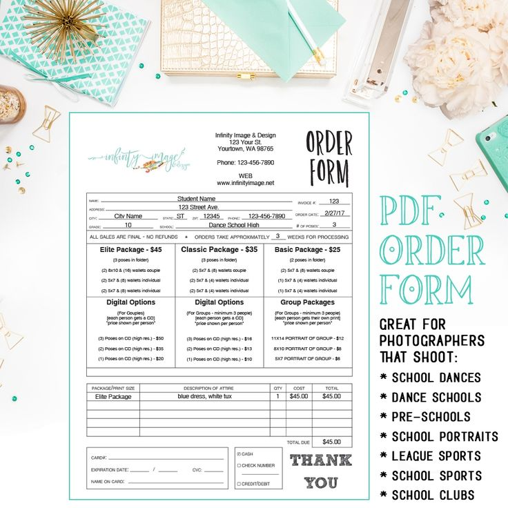 photography order form template free