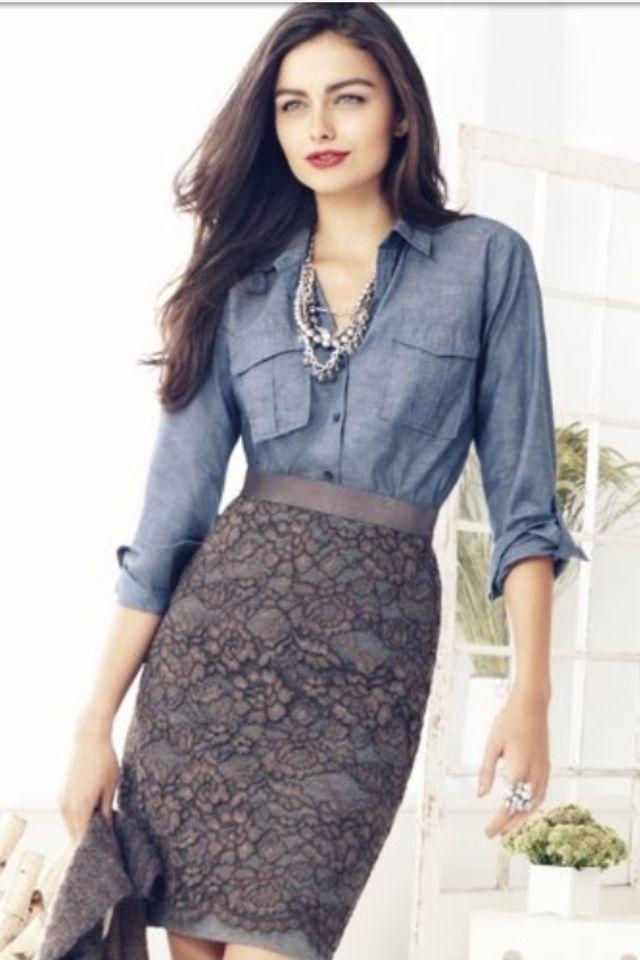 grey lace skirt and denim shirt denim delights