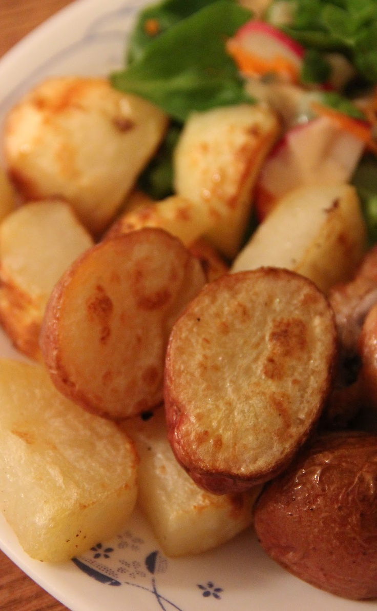Broiled Salt & Vinegar Potatoes. Boil in vinegar first, then broil w/oil/salt/pepper to crisp up.