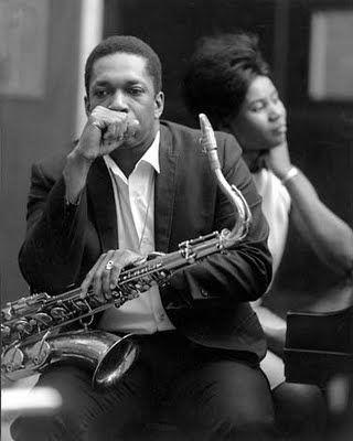 John Coltrane & Alice Coltrane,  Van Gelder Studio, Englewood Cliffs, NJ - 1966  Fotografado Por: Chuck Stewart