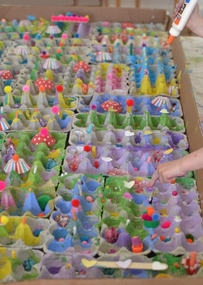 Giant Recycled Egg Carton Village A Process Art Collaboration Process Art Preschool Process Art Egg Carton Art