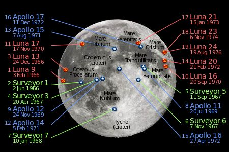 The locations of all successful soft landings on the Moon to date. Dates are landing dates in UTC.