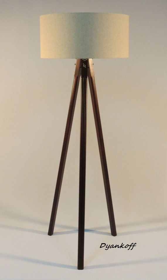 New Handmade Tripod Floor lamp with wooden stand and drum lampshade different colors of the lampshade