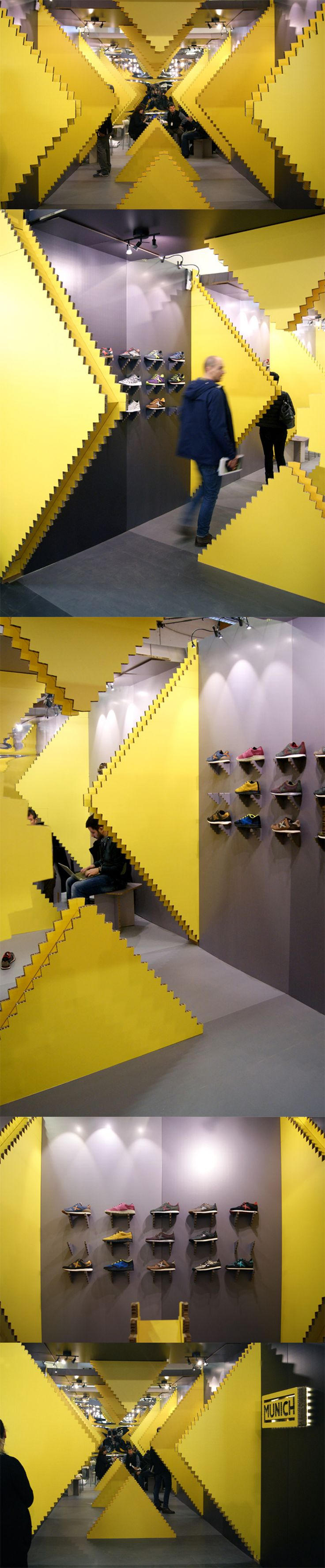 Pop Up Store Shop Brand Experience for Munich Shoes designed by Studio Animal + Eli Cayuela and produced in cardboard by Cartonlab. #popupstore #popupshop #brandexperience