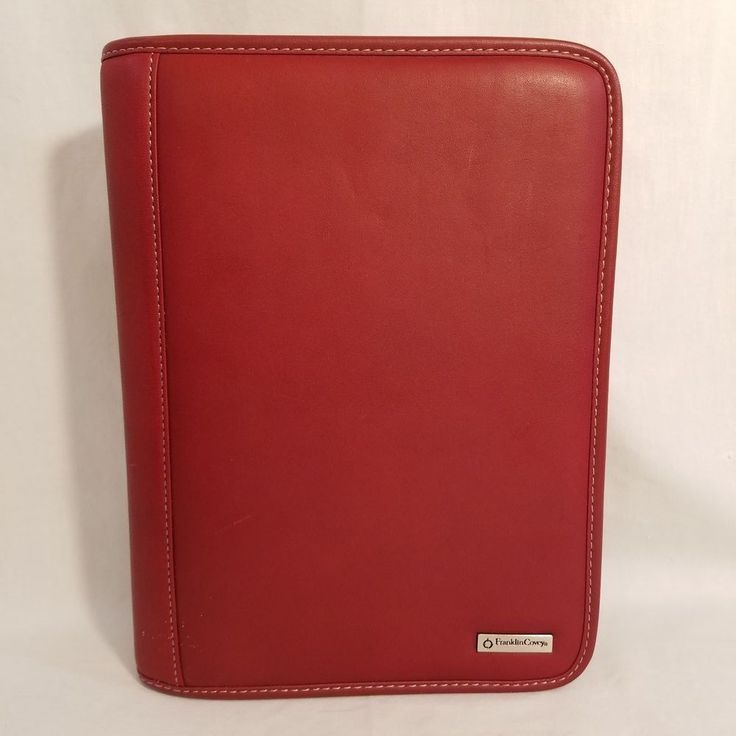 Franklin Covey Red Leather Classic Zip Organizer Planner Address and Note Pages #FranklinCovey