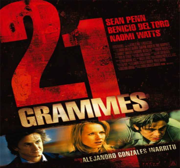 "21 GRAMS   SYNOPSIS:  ""21 Grams"" A STORY OF HOPE AND HUMANITY OF POVERTY AND SURVIVAL, EXPLORING THE STRONG EMOTIONAL AND PHYSICAL SENSATIONS OF THREE CHARACTERS: PAUL (SEAN PENN), CAT (Benicio Del Toro), and CRISTINA (NAOMI WATTS) UP FOR UNEXPECTED ACCIDENT THAT MAKES THEIR LIVES AND DESTINATIONS ARE cROSSING IN A STORY THAT LEADS TO LOVE AND REVENGE. 21 GRAMS REFERRED TO LOSE WEIGHT WHEN YOU DIE, BORN BY WEIGHT TO SURVIVE."