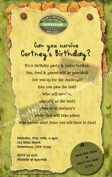 survivor personalized theme party printable invite by www.smallfrynotables.etsy.com