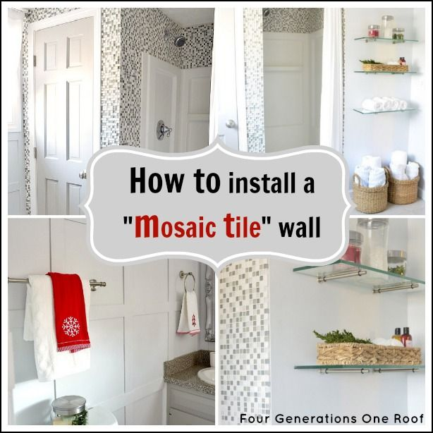 Installing Tiles In Bathroom: How To Install Mosaic Tile {tutorial