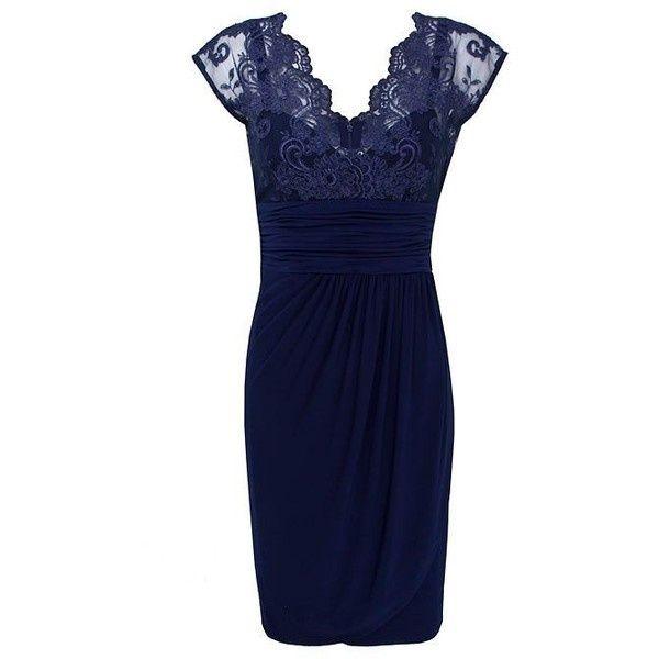 alexon+lace+top+dress | Alexon Lace top jersey dress ($175) liked on Polyvore