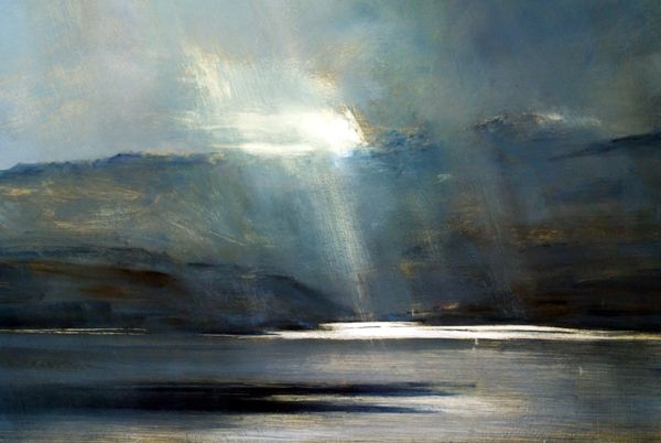 Breaking Light, Oban - Oil on Board - Zarina Stewart-Clark, Landscape Artist
