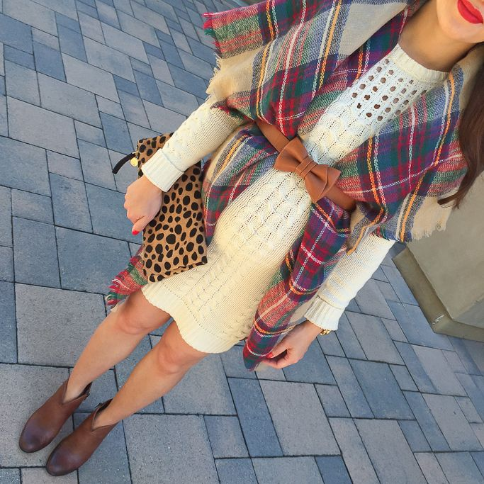 StylishPetite.com   cable knit sweater dress, plaid blanket scarf, cognac ankle booties, leopard foldover clutch, cognac bow belt, petite maternity outfit - Fall outfit