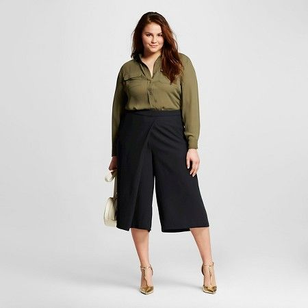Women's Plus Size Wrap Front Culottes - Who What Wear™ : Target