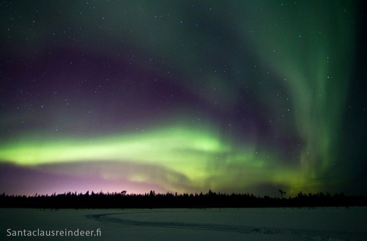 The Northern lights of Finnish Lapland in winter