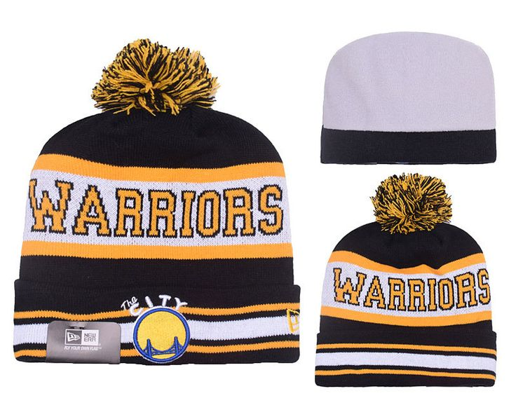 Men's / Women's Golden State Warriors New Era NBA The Jake Knit Pom Pom Beanie Hat - Black / Gold / White