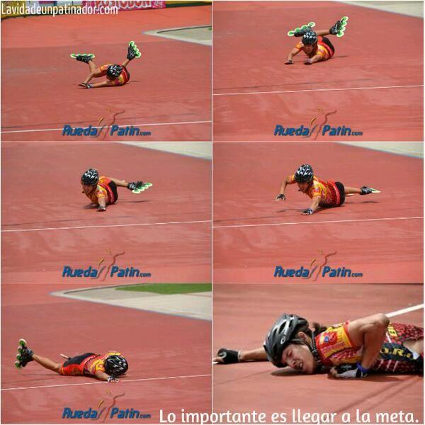 Un verdadero deportista o patinador nunca se da por vencido, llega siempre a la meta aunque le cueste todo♥