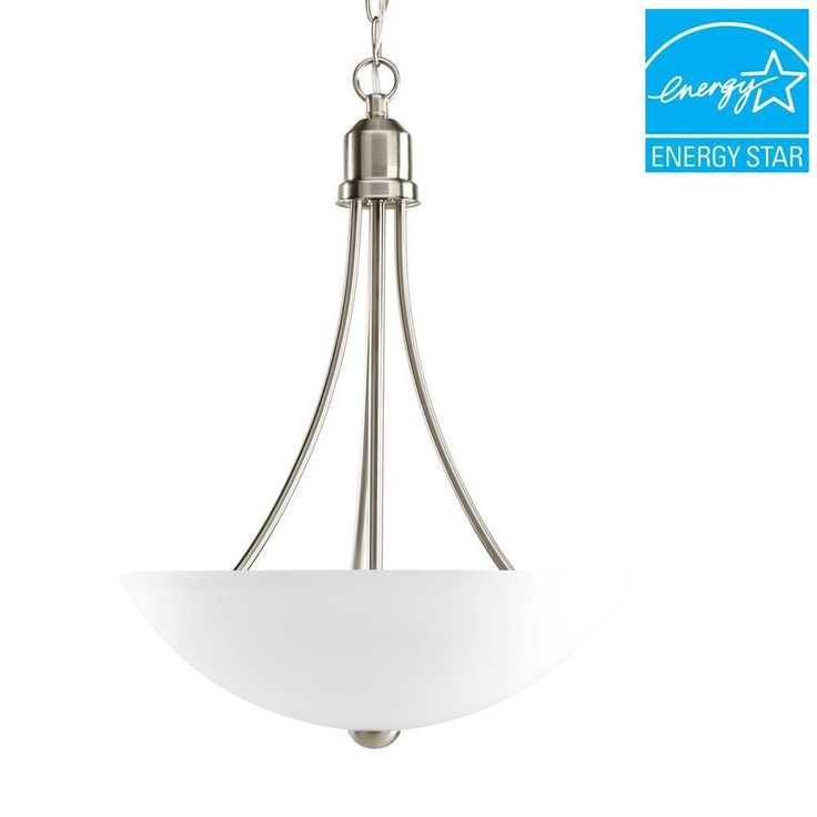 Progress Lighting Gather Collection 2 Light Brushed Nickel Foyer Pendant With Etched Glass