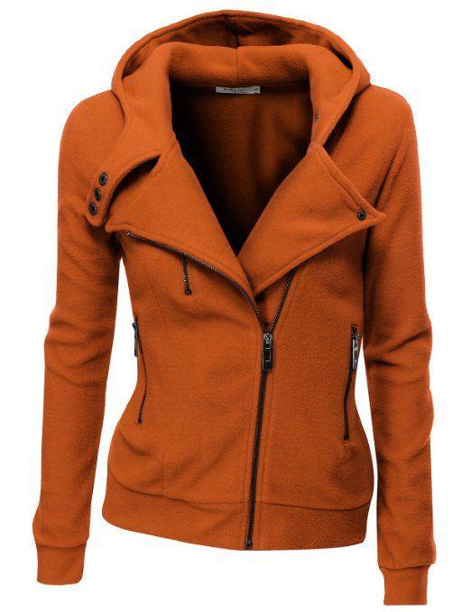 Amazon.com: Doublju Women's Fleece Zip-Up High Neck Jacket: Clothing  size medium don't like the orange but it's cute