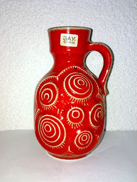 Vase Krug BAY 85 17 Rot Jura Snails Schnecken Henkel Handle WGP Mid Century 60s    eBay