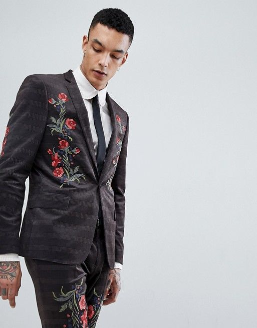 Skinny Velvet Check Suit Jacket With Floral Embroidery  0f2fa8a6293
