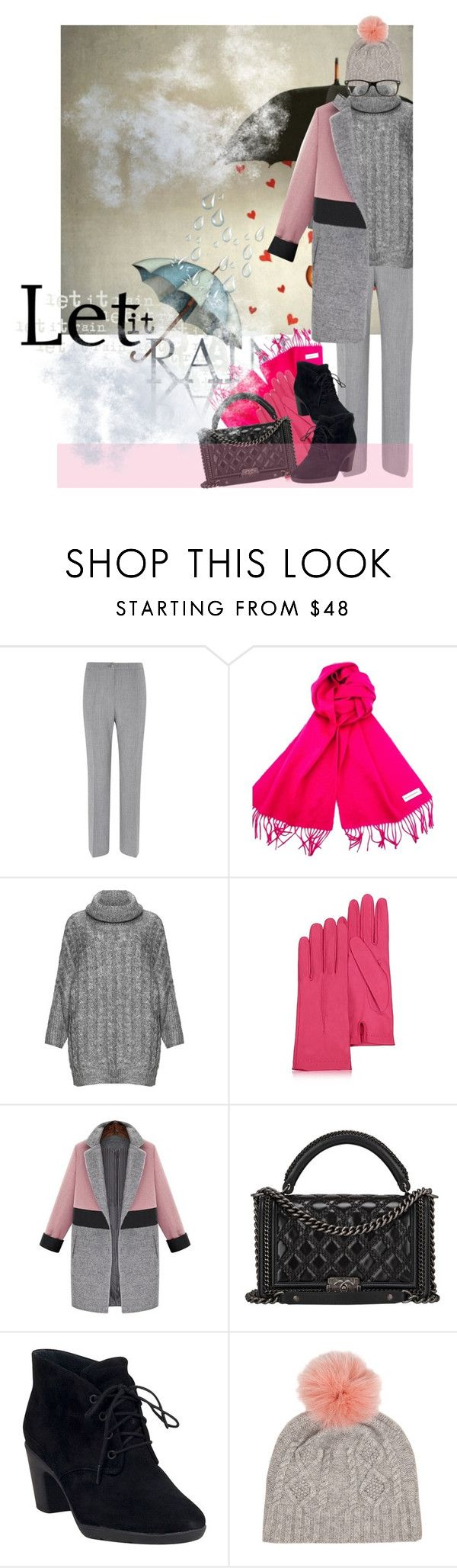 """""""One picture and text : Cosy in winter rain"""" by no-where-girl ❤ liked on Polyvore featuring Viyella, Yves Saint Laurent, Zizzi, Forzieri, Chanel, Clarks, IDA and Ray-Ban"""