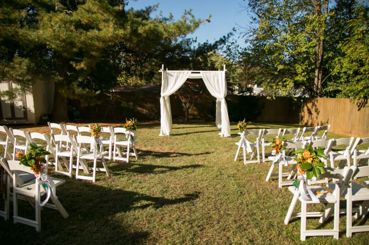 Simple Backyard Wedding Ideas backyard wedding ideas for summer Simple Outdoor Wedding Ceremony Setup Decor From From Carla Kevins Multicultural Backyard Wedding In Northern Virginia Pinterest Northern Virginia