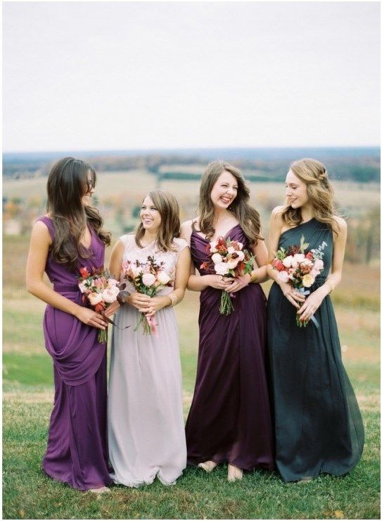 Try jewel tones for your mismatched bridesmaid dresses! Colors like emerald, jade, and violet are elegant for a fall wedding.