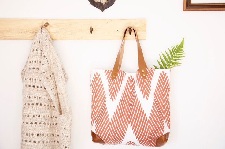 Cotton and leather tote // Brown and white cotton and veg tanned leather tote market bag shopper