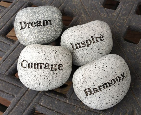 Stones, Dream, Inspire, Courage