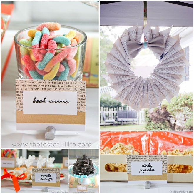 """""""Chapter 2"""" Book Themed Children's Birthday Party: book page wreath and food cards"""