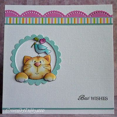 handmade card from A Scrapjourney: Peek a Boo .... clean and simple ... adorable cat with birds on his head peeks out a window ...