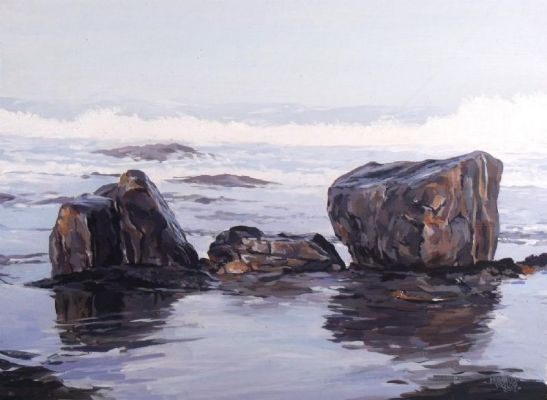 Rocks on the beach - Acrylic   Mynderd Vosloo   Painters Online