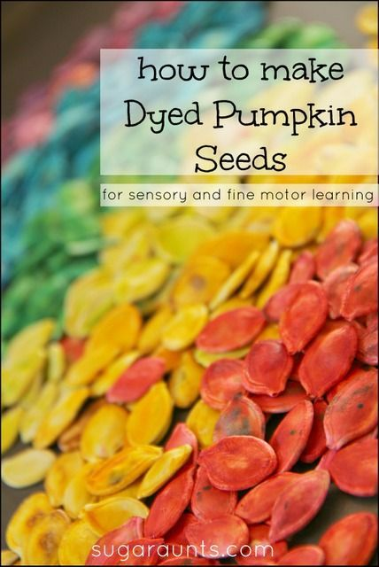 How to make dyed pumpkin seeds for sensory, art, and fine motor play. From Sugar Aunts