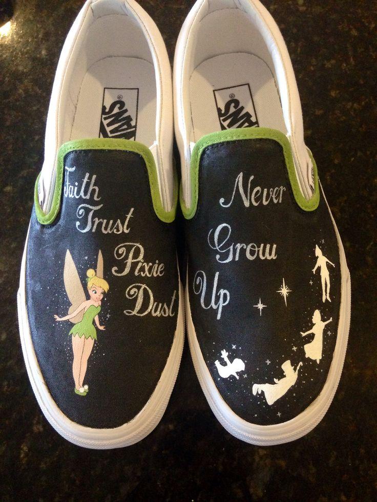 Tinkerbell/Peter Pan hand painted custom vans shoes