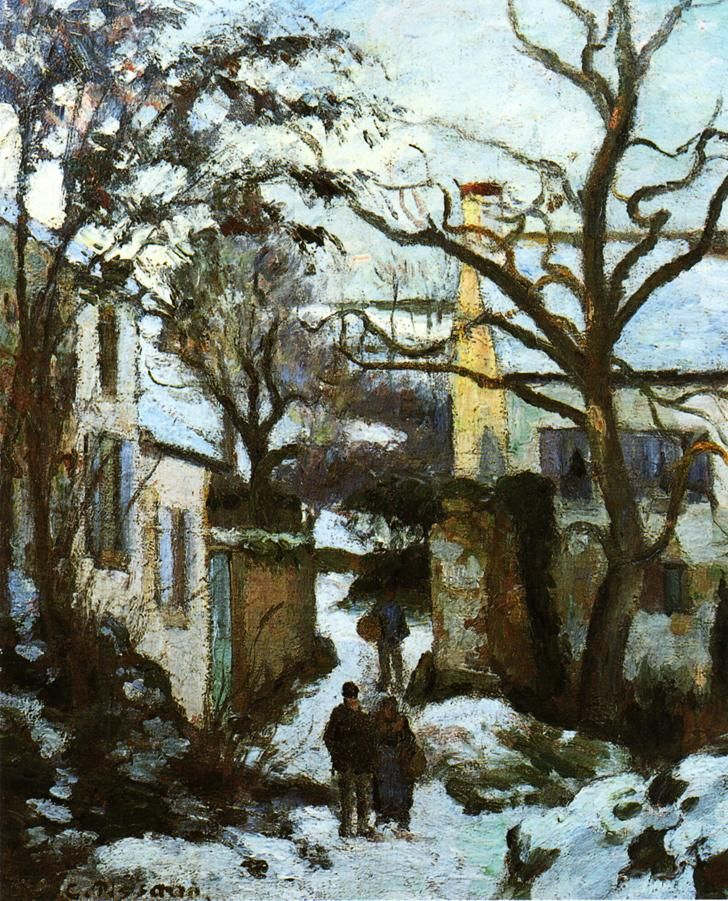 The Road to L'Hermitage in Snow - Camille Pissarro