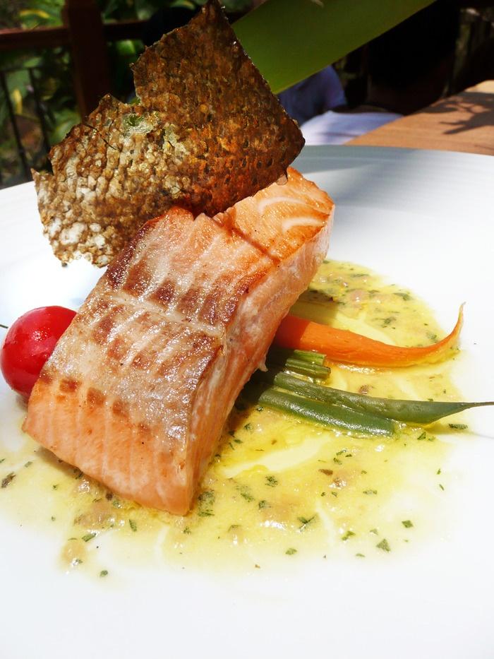 Tasmanian salmon at the Rondji Restaurant, Ubud, Bali.