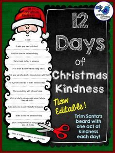 12 Days of Christmas Kindness FREE template for a fun activity where students trim Santa's beard with each act of kindness they do (editable)