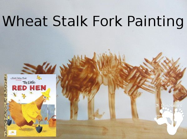 Wheat Stalk Fork Painting - Little Red Hen - 3Dinosaurs.com