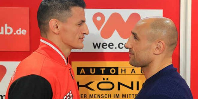 """Robin Krasniqi, Arthur Abraham Make Weight For WBO Title Eliminator -Tonight at Congress Center in Ekfurt, Germany, SES Boxing presents a WBO Super Middleweight title eliminator between two-time world title challenger Robin Krasniqi and three-time, two-division world champion """"King"""" Arthur Abraham. Krasniqi (46-4, 17 KOs), rated No. 3 by the WBO, faces WBO No....- http://www.saddoboxing.com/48607-robin-krasniqi-arthur-abraham-make-weight.html"""