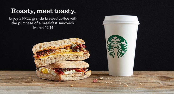 New Starbucks Promotion: Free Coffee with Breakfast Sandwich Purchase!