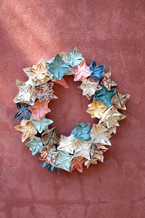 Origami Lotus Wreath Decoration.