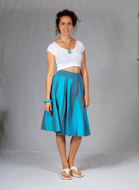 Fresh and simple, blue cotton striped, 50's style flared skirt from the 1980's