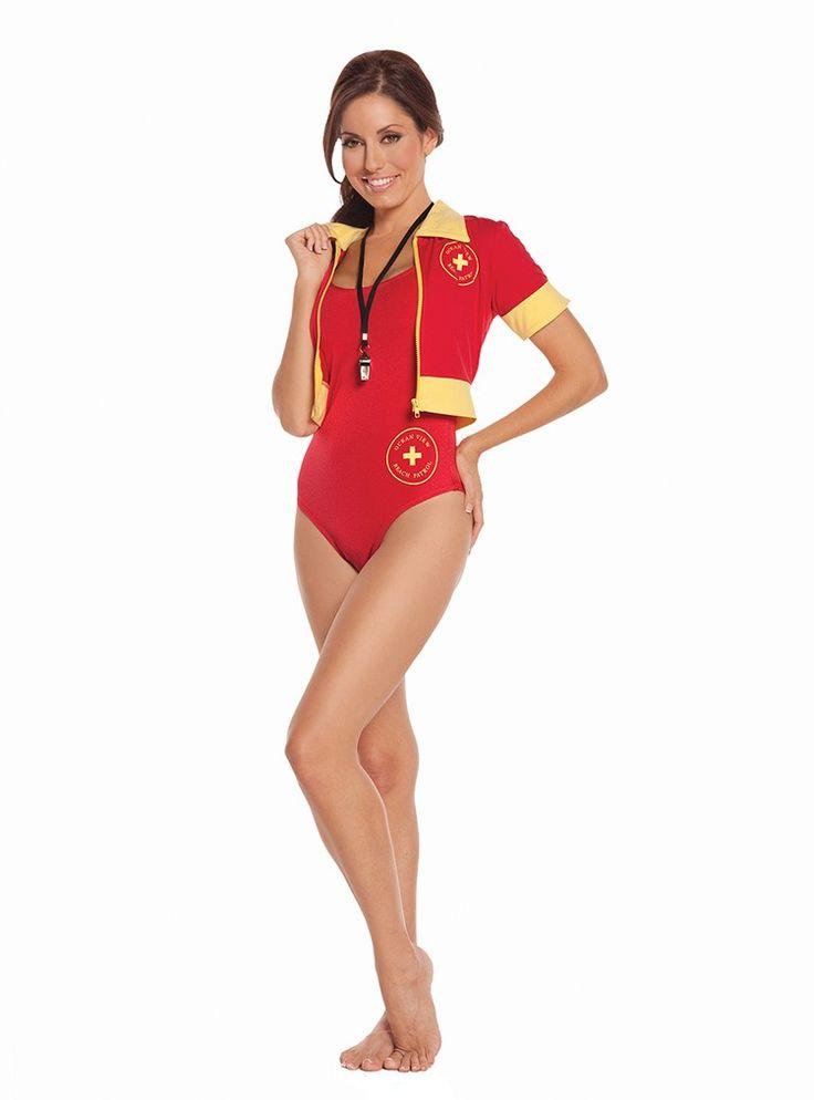 Sexy rotes 4 teiliges Baywatch, Lebensretter, Beach Patrol Damenkostüm